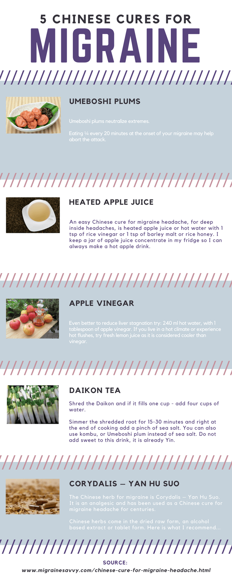 Click to enlarge 5 Chinese Cures for Migraines infographic