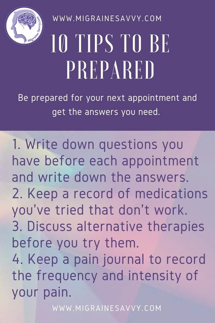 Ten Tips Before Seeing Your Migraine Doctor @migrainesavvy