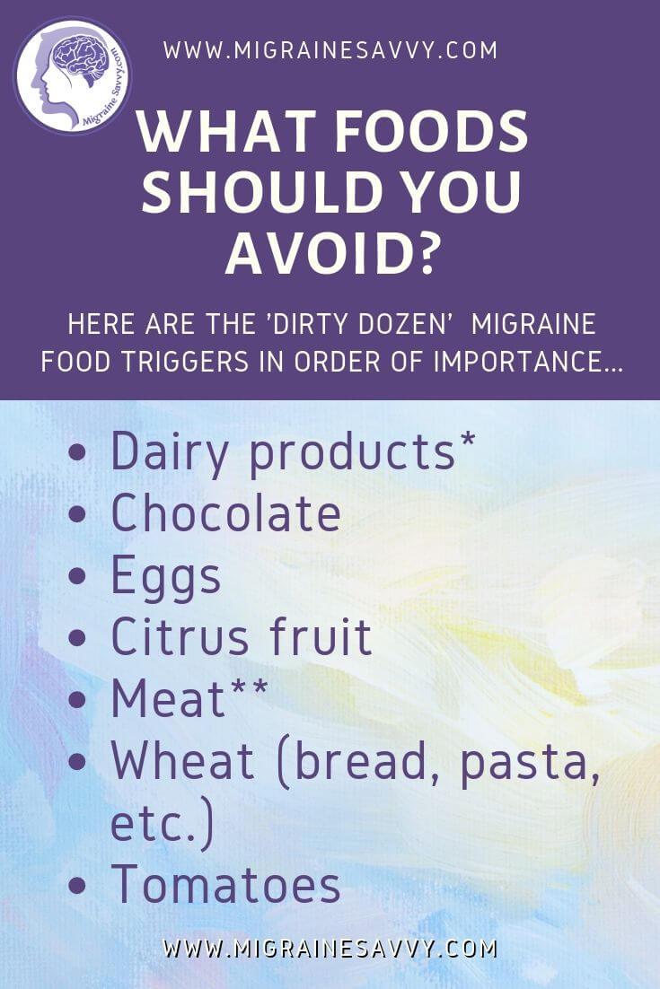 Migraine Elimination Diet Foods To Avoid  @migrainesavvy #migrainerelief #stopmigraines #migrainesareafulltimejob