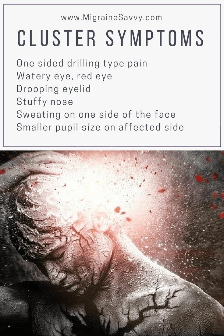 Cluster Migraine Symptoms @migrainesavvy #clusterheadaches