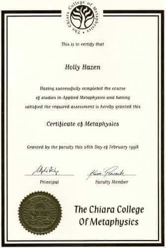 My Metaphysics Certificate 1998