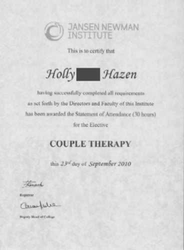 My Couples Therapy Certificate 2010