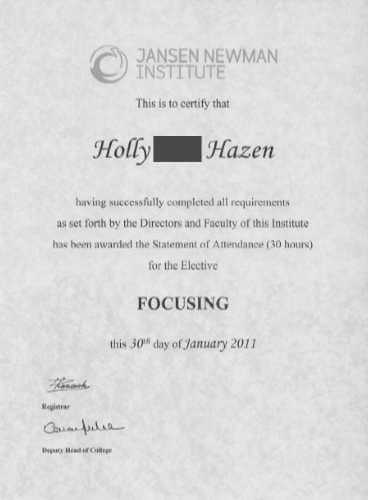 My Focusing Certificate 2011