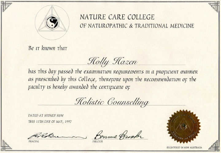 Certificate in Holistic Counselling 1997 - 1998