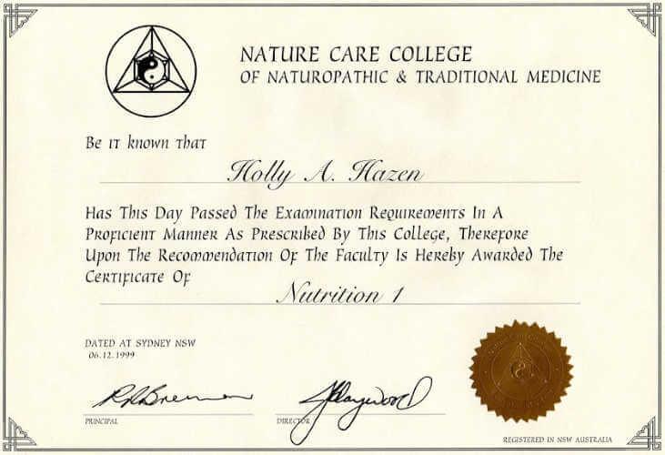 Certificate in Nutrition 1999