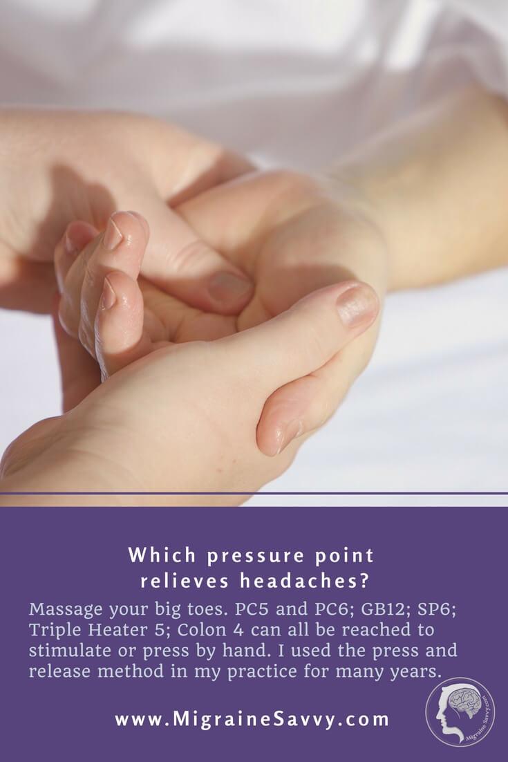 migraine pressure point methods