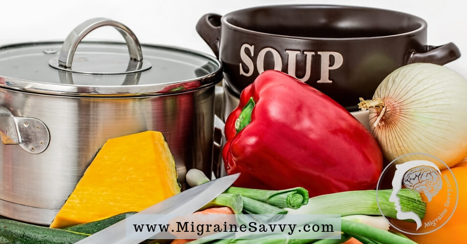 Migraine Soup recipe for easier recovery and resilience after a long migraine. Have a look - this is a new idea that's for sure @migrainesavvy