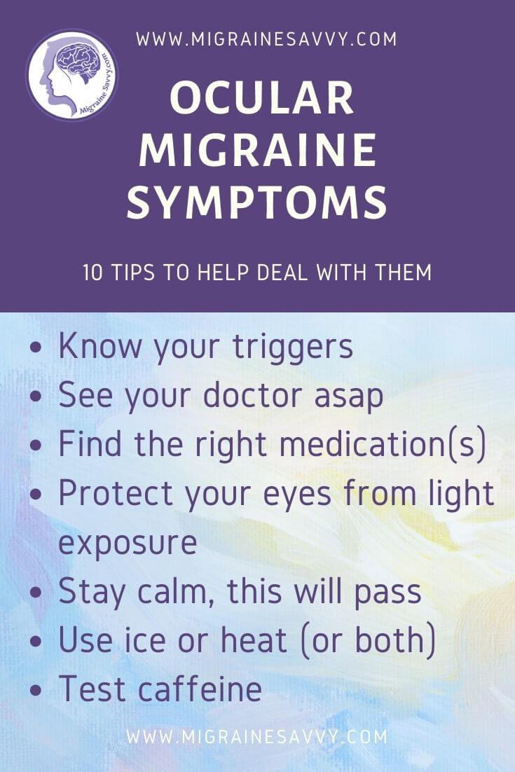 Ocular Migraine Symptom Relief Tips @migrainesavvy #migrainerelief #stopmigraines #migrainesareafulltimejob