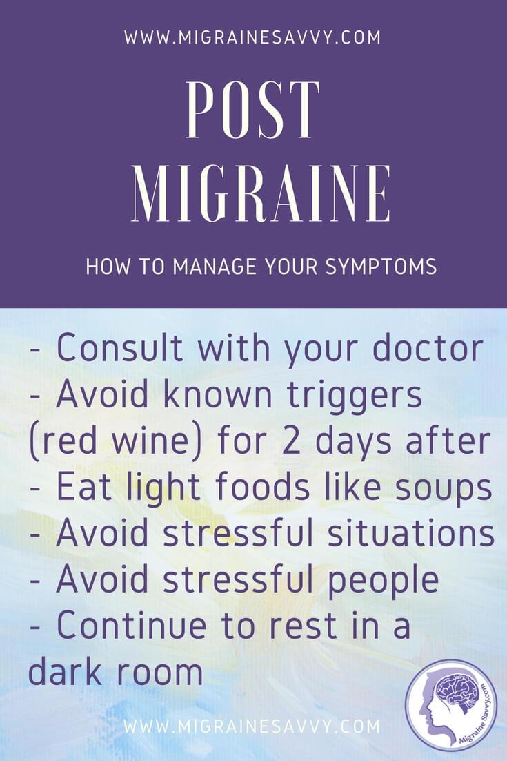 Post Migraine Symptoms Tips @migrainesavvy #migrainerelief #stopmigraines #migrainesareafulltimejob