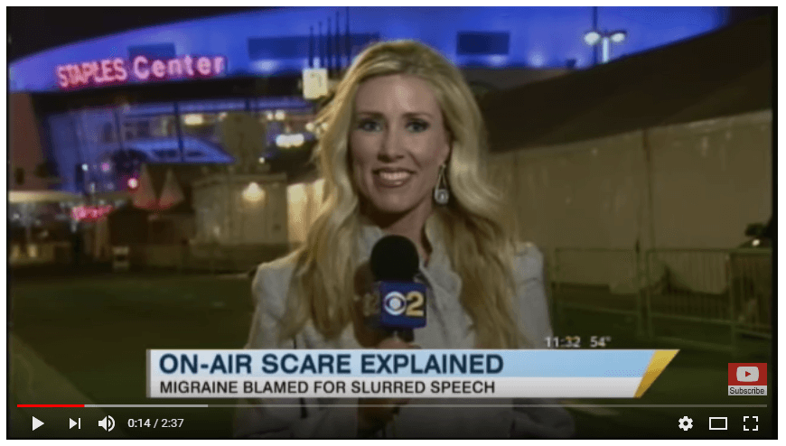 On Air Scare For Serene Branson. Migraine blamed for slurred speech. @migrainesavvy #migrainerelief #stopmigraines #migrainesareafulltimejob
