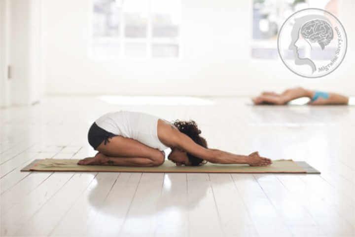 Another good yoga pose for migraine prevention is child's pose @migrainesavvy #migrainerelief #stopmigraines #migrainesareafulltimejob
